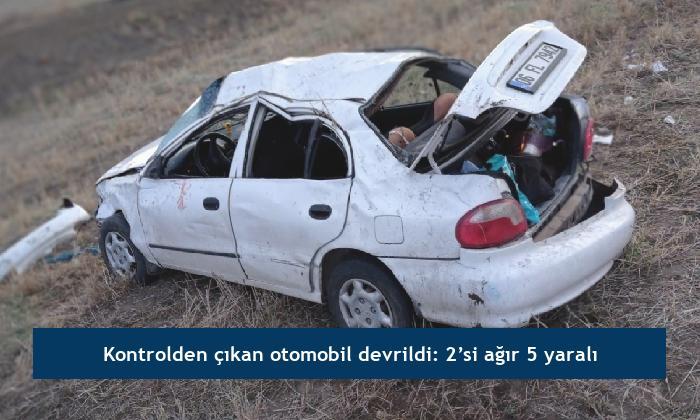 Kontrolden çıkan otomobil devrildi: 2'si ağır 5 yaralı