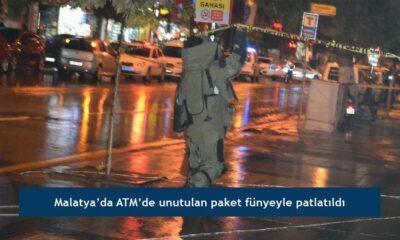 Malatya'da ATM'de unutulan paket fünyeyle patlatıldı