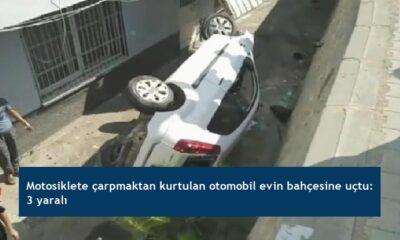 Motosiklete çarpmaktan kurtulan otomobil evin bahçesine uçtu: 3 yaralı