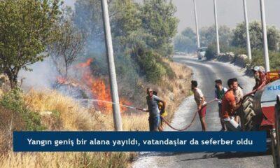Yangın geniş bir alana yayıldı, vatandaşlar da seferber oldu