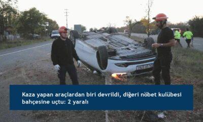 Kaza yapan araçlardan biri devrildi, diğeri nöbet kulübesi bahçesine uçtu: 2 yaralı