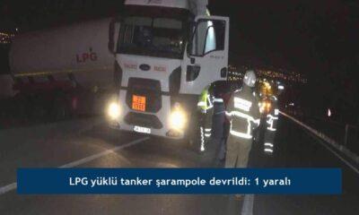 LPG yüklü tanker şarampole devrildi: 1 yaralı