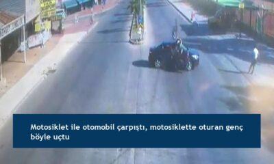 Motosiklet ile otomobil çarpıştı, motosiklette oturan genç böyle uçtu