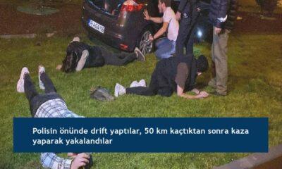 Polisin önünde drift yaptılar, 50 km kaçtıktan sonra kaza yaparak yakalandılar