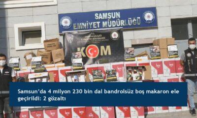 Samsun'da 4 milyon 230 bin dal bandrolsüz boş makaron ele geçirildi: 2 gözaltı