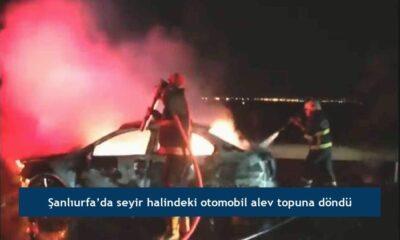 Şanlıurfa'da seyir halindeki otomobil alev topuna döndü