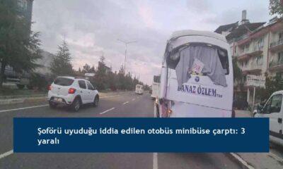 Şoförü uyuduğu iddia edilen otobüs minibüse çarptı: 3 yaralı