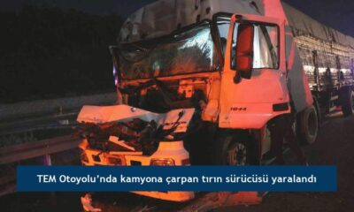 TEM Otoyolu'nda kamyona çarpan tırın sürücüsü yaralandı