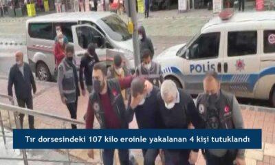 Tır dorsesindeki 107 kilo eroinle yakalanan 4 kişi tutuklandı